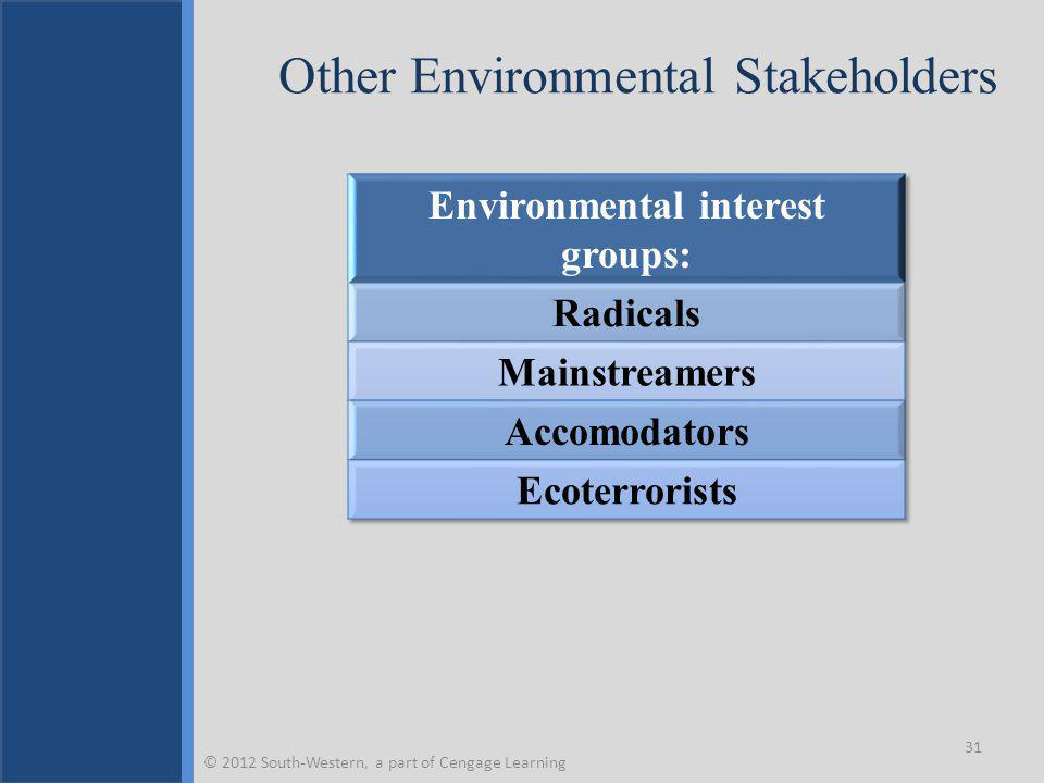 Other Environmental Stakeholders 31 © 2012 South-Western, a part of Cengage Learning