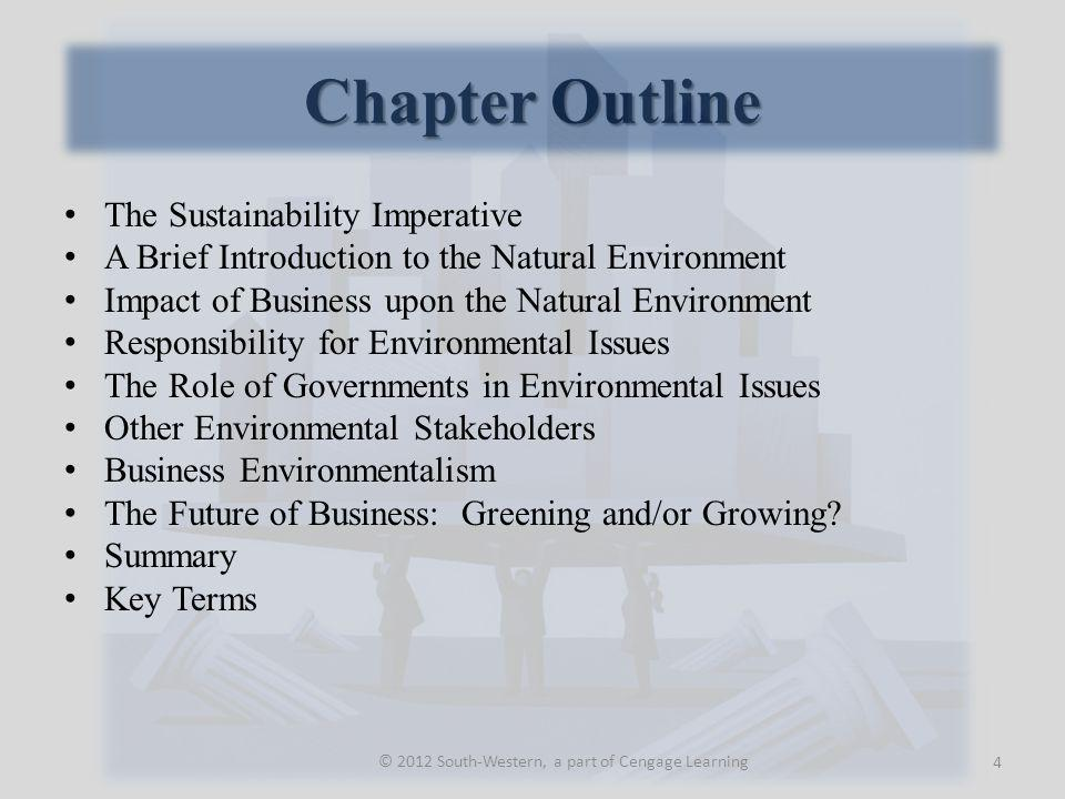 Chapter Outline The Sustainability Imperative A Brief Introduction to the Natural Environment Impact of Business upon the Natural Environment Responsibility for Environmental Issues The Role of Governments in Environmental Issues Other Environmental Stakeholders Business Environmentalism The Future of Business: Greening and/or Growing.