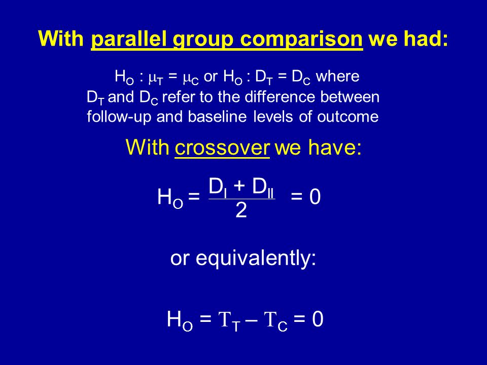 With parallel group comparison we had: or equivalently: With crossover we have: H O =  T –  C = 0 H O :  T =  C or H O : D T = D C where D l + D ll 2 H O == 0 D T and D C refer to the difference between follow-up and baseline levels of outcome