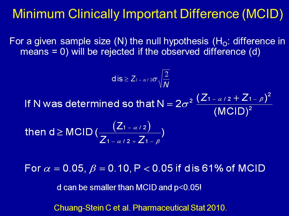 Minimum Clinically Important Difference (MCID) For a given sample size (N) the null hypothesis (H O : difference in means = 0) will be rejected if the observed difference (d) Chuang-Stein C et al.