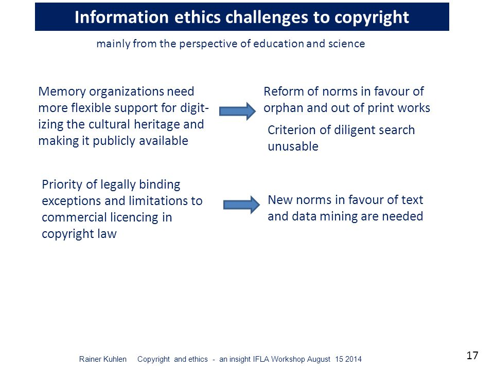 17 Rainer Kuhlen Copyright and ethics - an insight IFLA Workshop August 15 2014 Information ethics challenges to copyright Memory organizations need more flexible support for digit- izing the cultural heritage and making it publicly available mainly from the perspective of education and science Priority of legally binding exceptions and limitations to commercial licencing in copyright law Criterion of diligent search unusable Reform of norms in favour of orphan and out of print works New norms in favour of text and data mining are needed