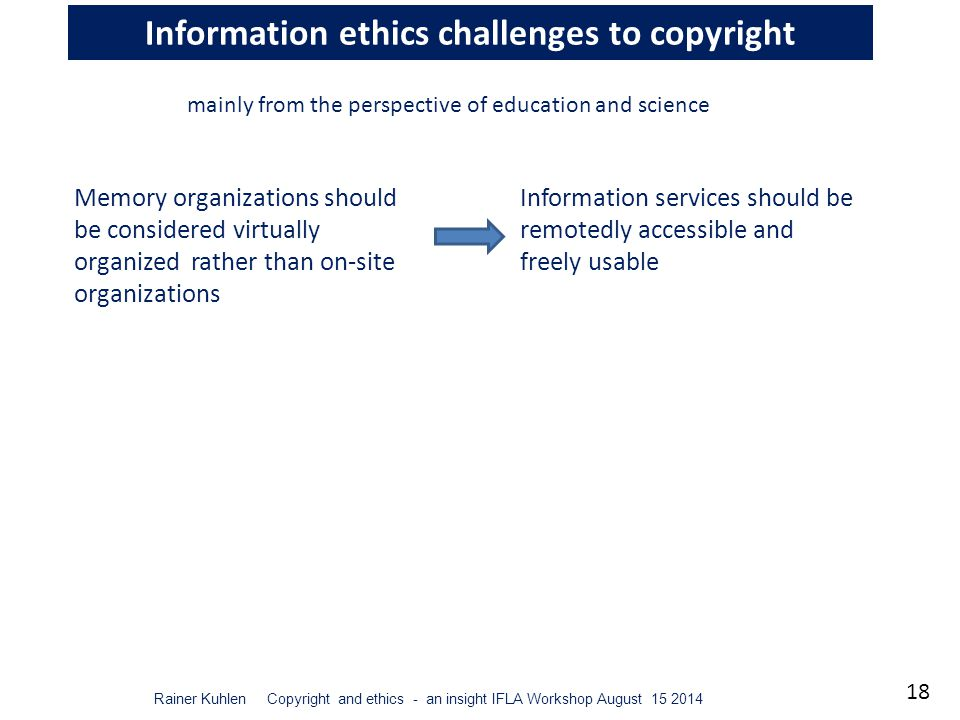 18 Rainer Kuhlen Copyright and ethics - an insight IFLA Workshop August 15 2014 Information ethics challenges to copyright Memory organizations should be considered virtually organized rather than on-site organizations mainly from the perspective of education and science Information services should be remotedly accessible and freely usable