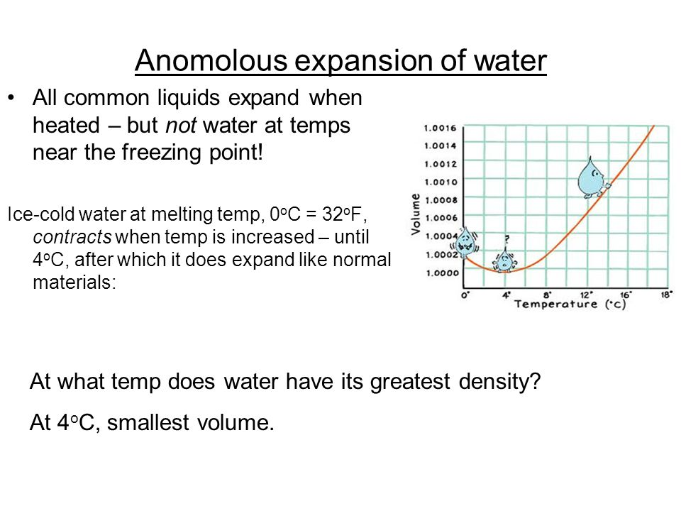 Anomolous expansion of water All common liquids expand when heated – but not water at temps near the freezing point.