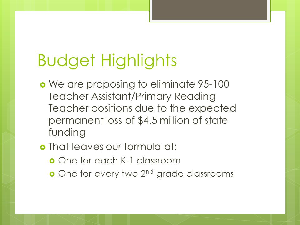 Budget Highlights  We are proposing to eliminate 95-100 Teacher Assistant/Primary Reading Teacher positions due to the expected permanent loss of $4.