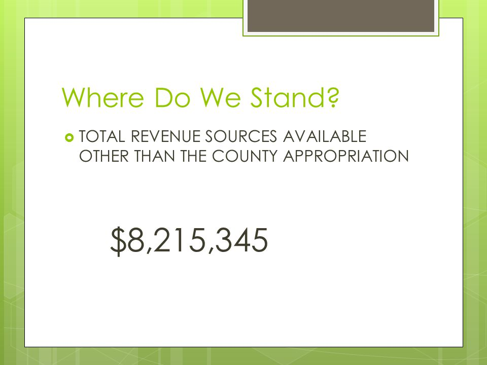 Where Do We Stand  TOTAL REVENUE SOURCES AVAILABLE OTHER THAN THE COUNTY APPROPRIATION $8,215,345