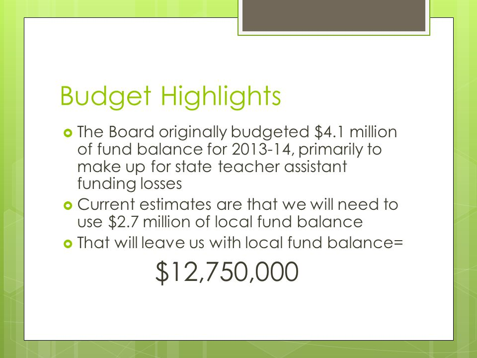 Budget Highlights  The Board originally budgeted $4.1 million of fund balance for 2013-14, primarily to make up for state teacher assistant funding l