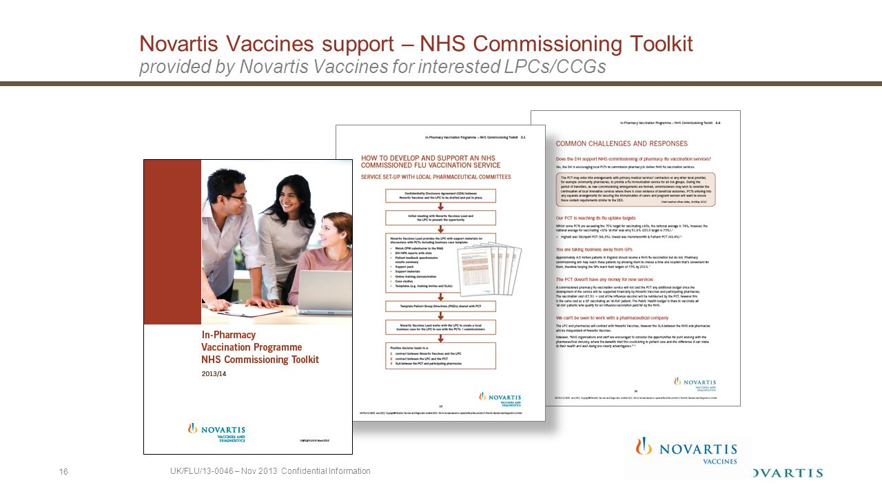 Novartis Vaccines support – NHS Commissioning Toolkit provided by Novartis Vaccines for interested LPCs/CCGs 16 UK/FLU/13-0046 – Nov 2013 Confidential Information