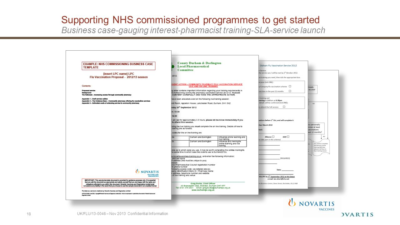 Supporting NHS commissioned programmes to get started Business case-gauging interest-pharmacist training-SLA-service launch 18 UK/FLU/13-0046 – Nov 2013 Confidential Information
