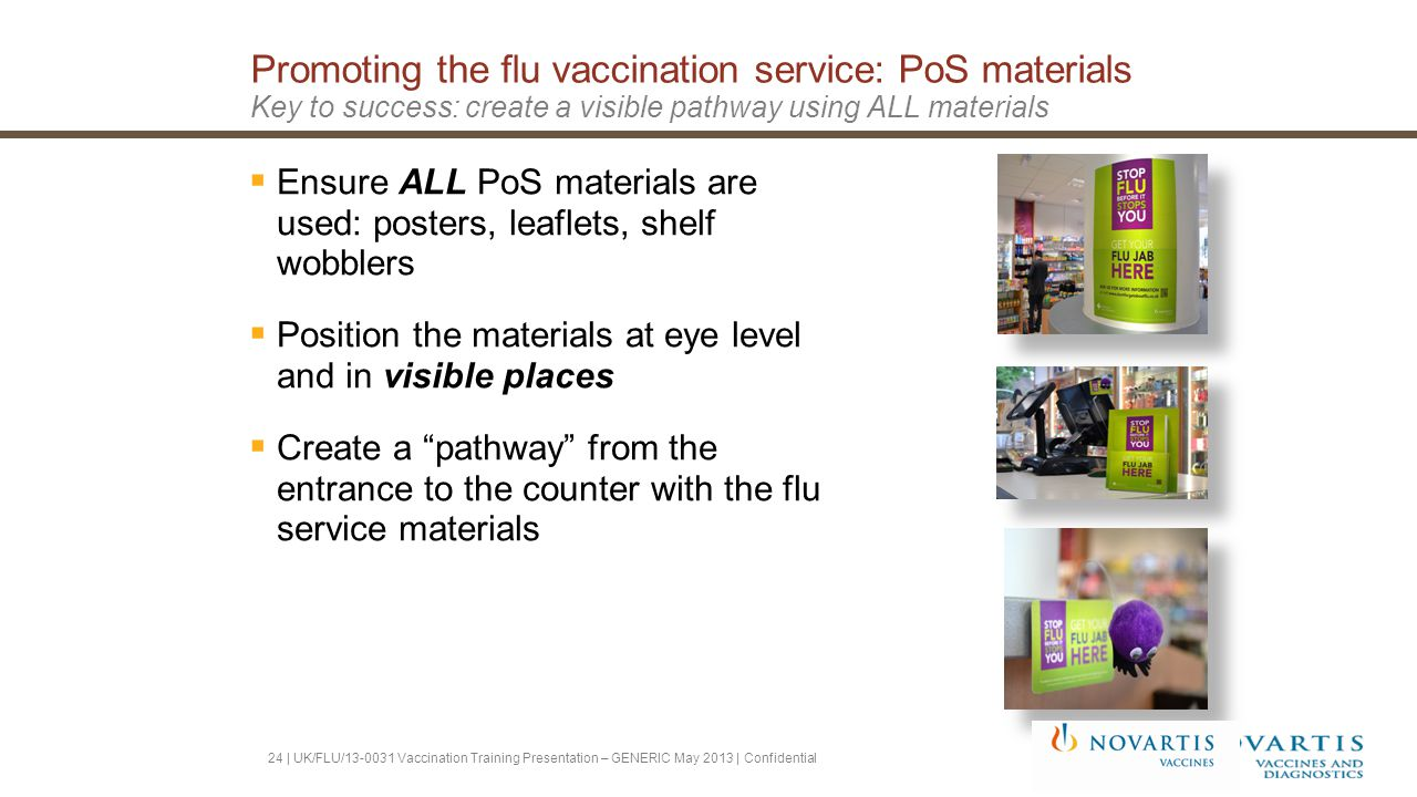 Promoting the flu vaccination service: PoS materials Key to success: create a visible pathway using ALL materials  Ensure ALL PoS materials are used: