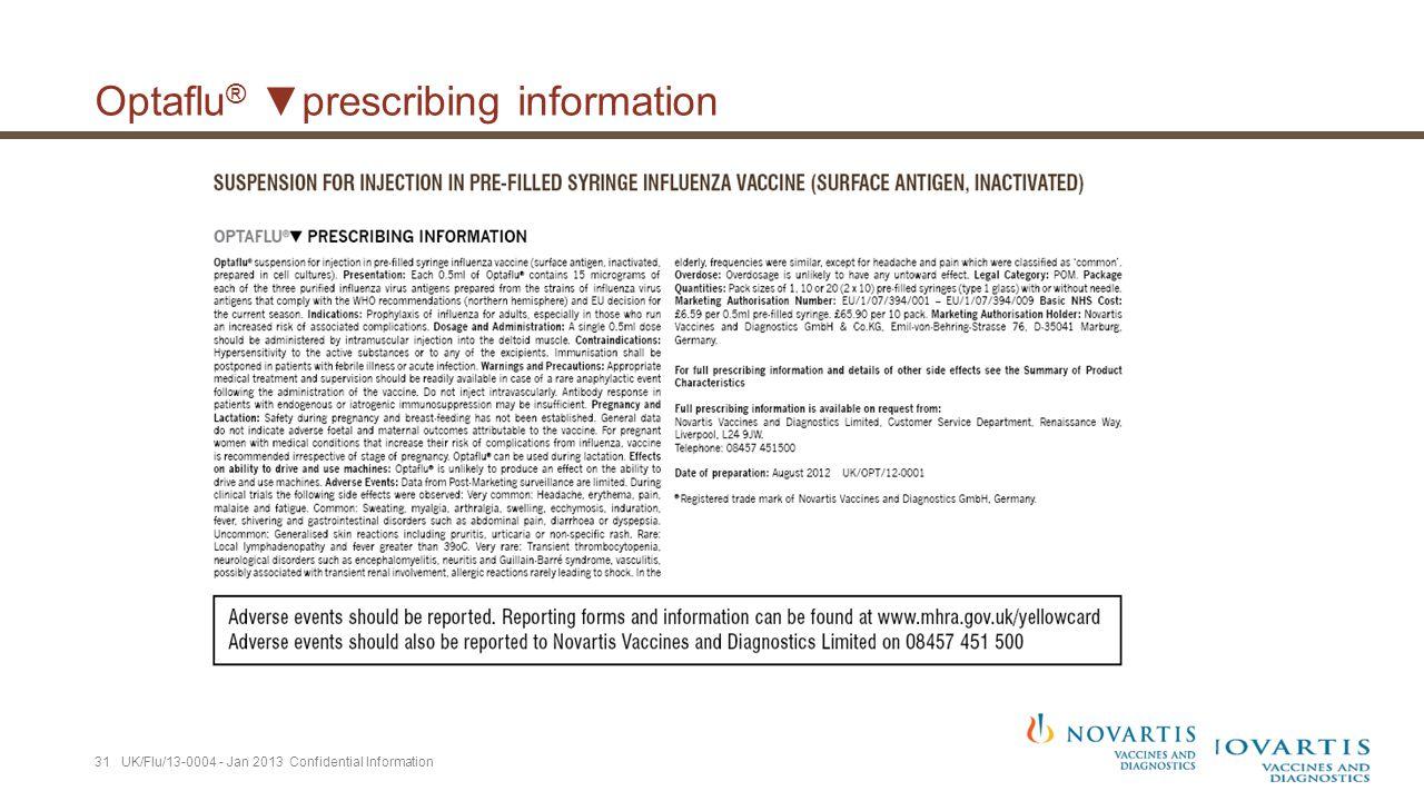 Optaflu ® ▼prescribing information 31 UK/Flu/13-0004 - Jan 2013 Confidential Information