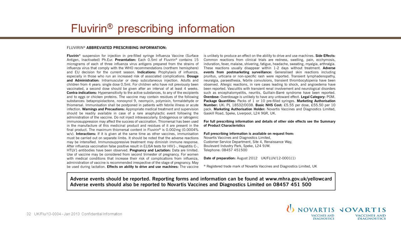 Fluvirin ® prescribing information 32 UK/Flu/13-0004 - Jan 2013 Confidential Information