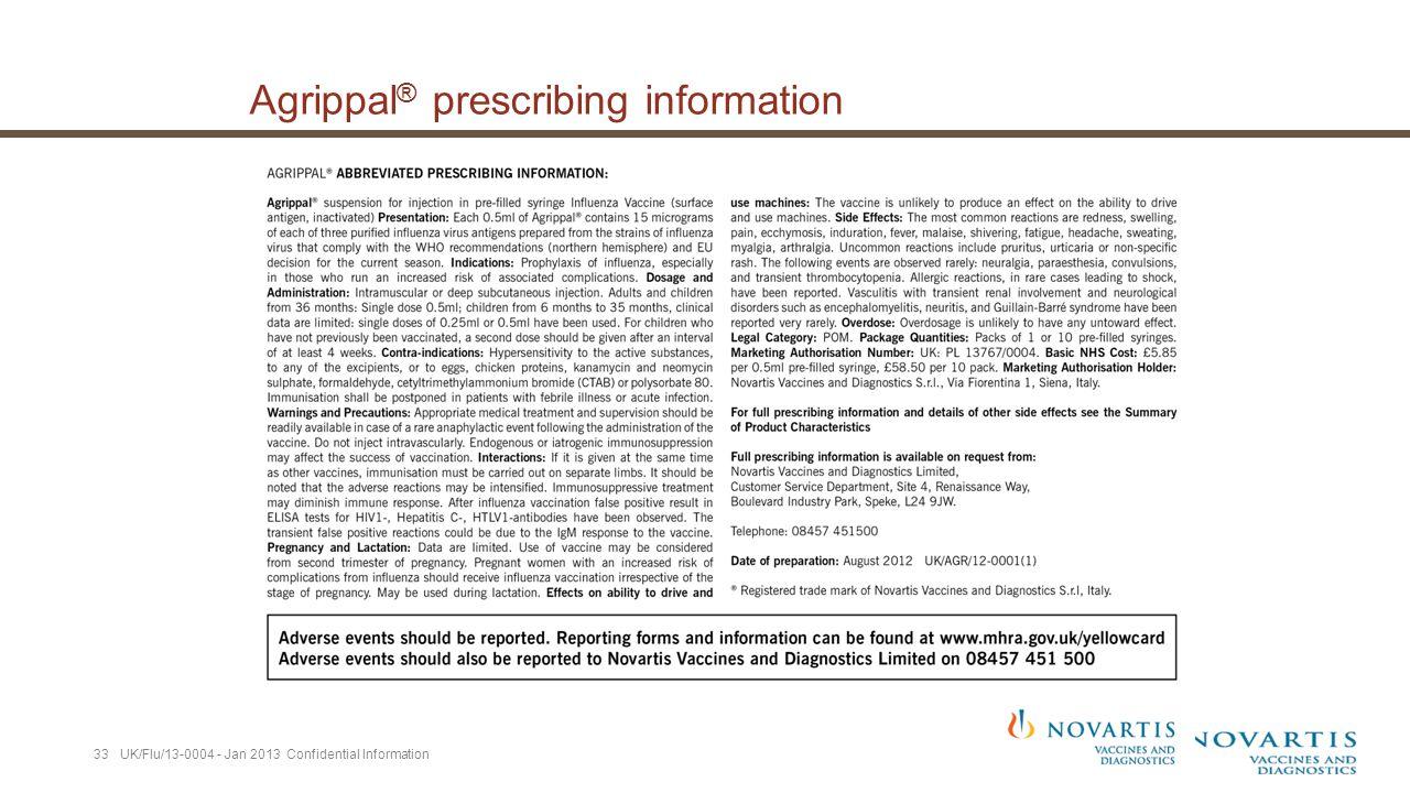Agrippal ® prescribing information 33 UK/Flu/13-0004 - Jan 2013 Confidential Information