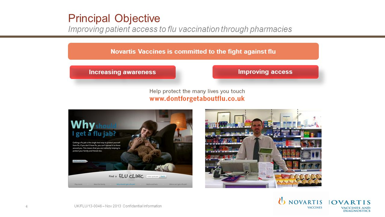 Principal Objective Improving patient access to flu vaccination through pharmacies Increasing awareness Improving access Novartis Vaccines is committed to the fight against flu 4 UK/FLU/13-0046 – Nov 2013 Confidential Information