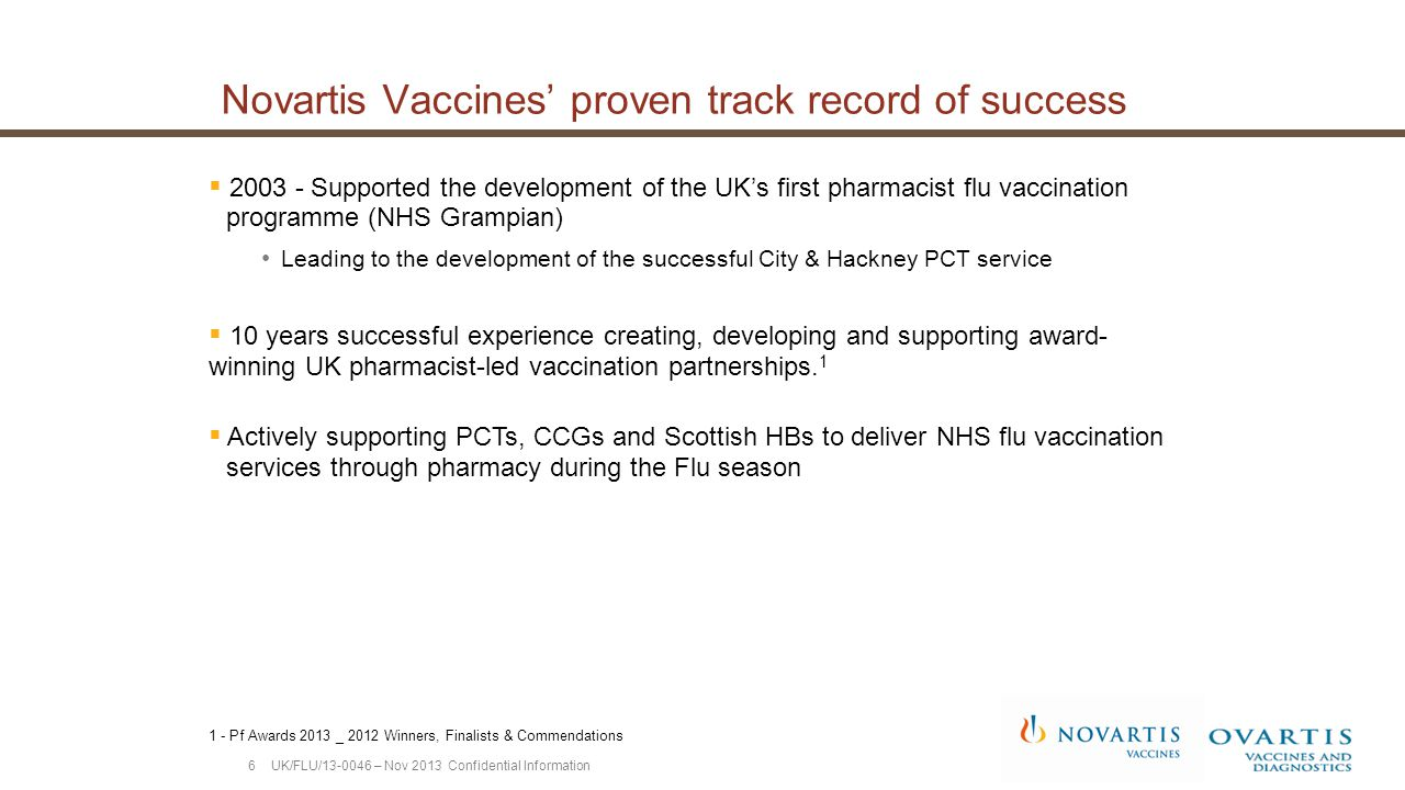  >10,000 UK pharmacists trained  >3,000 UK pharmacies participating  >1 Million vaccines administered Data on file, Novartis Vaccines and Diagnostics Limited, Dec 2013.