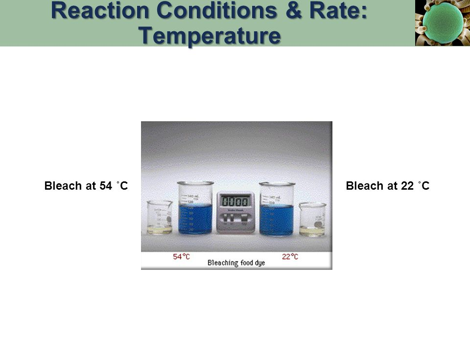 Bleach at 54 ˚CBleach at 22 ˚C Reaction Conditions & Rate: Temperature