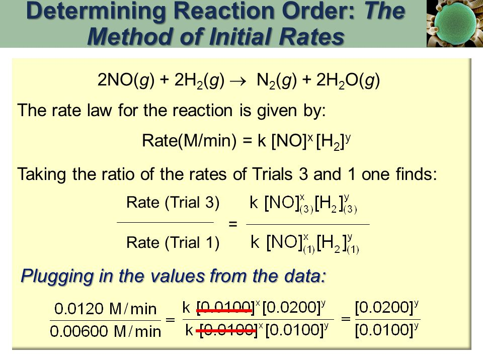 Rate(M/min) = k [NO] x [H 2 ] y The rate law for the reaction is given by: 2NO(g) + 2H 2 (g)  N 2 (g) + 2H 2 O(g) Taking the ratio of the rates of Tr