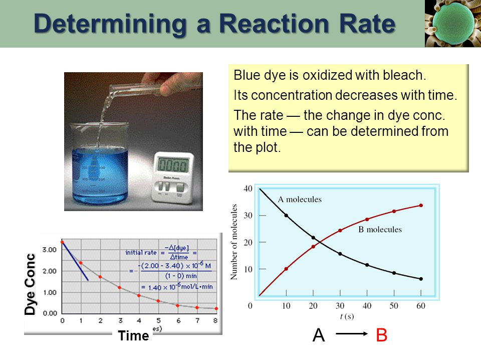 aA + bB  cC + dD In general for the reaction: reactants go away with time therefore the negative sign… Reaction Rate & Stoichiometry Reaction rate is the change in the concentration of a reactant or a product with time (M/s).