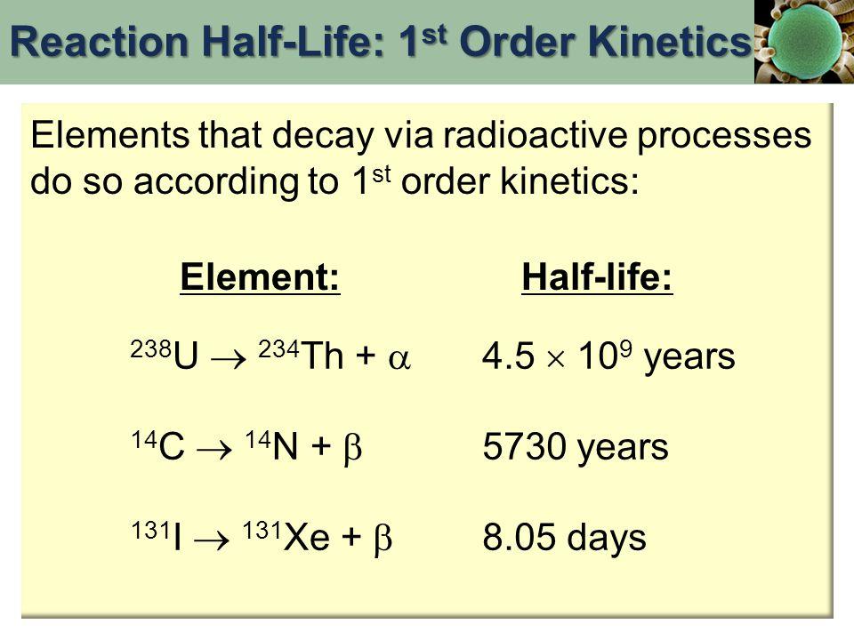 Elements that decay via radioactive processes do so according to 1 st order kinetics: Element:Half-life: 238 U  234 Th +  14 C  14 N +  131 I  13