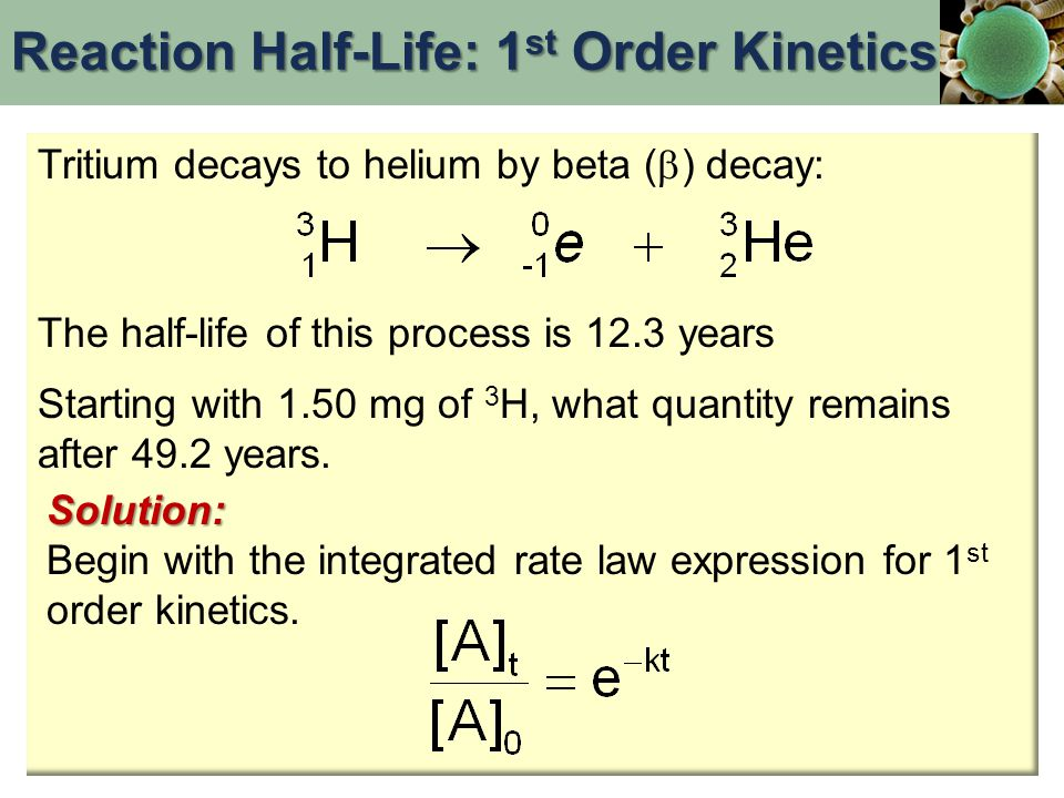 Tritium decays to helium by beta (  ) decay: The half-life of this process is 12.3 years Starting with 1.50 mg of 3 H, what quantity remains after 49