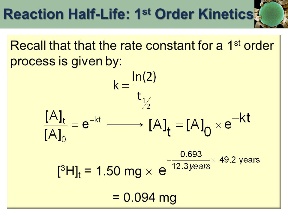 Recall that that the rate constant for a 1 st order process is given by: [ 3 H] t = 1.50 mg  = 0.094 mg Reaction Half-Life: 1 st Order Kinetics