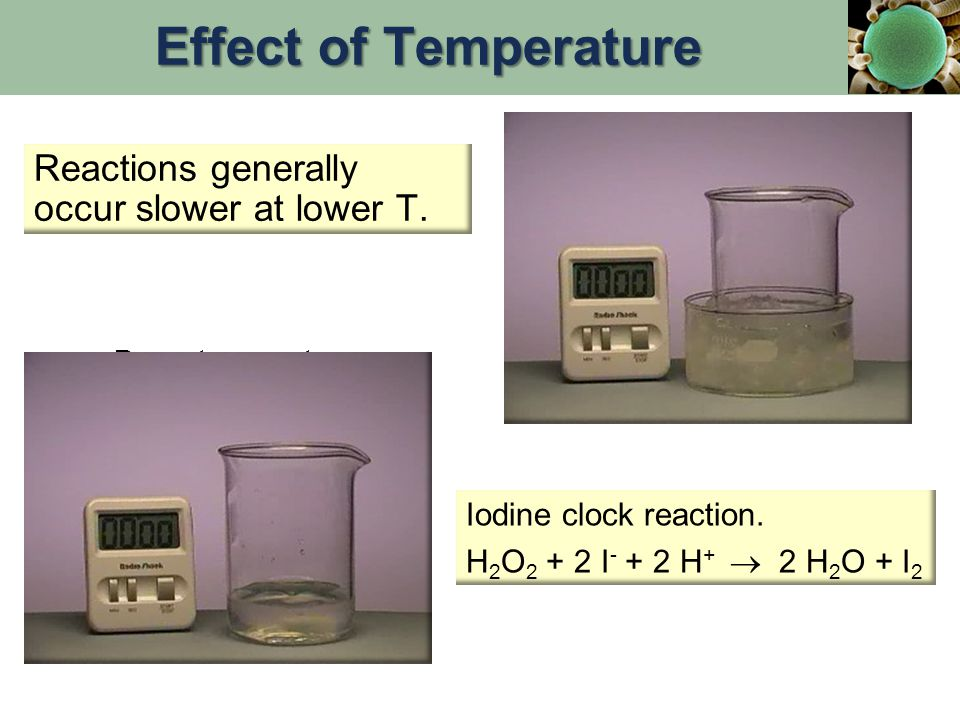 Reactions generally occur slower at lower T. Iodine clock reaction. H 2 O 2 + 2 I - + 2 H +  2 H 2 O + I 2 Room temperature In ice at 0 o C Effect of
