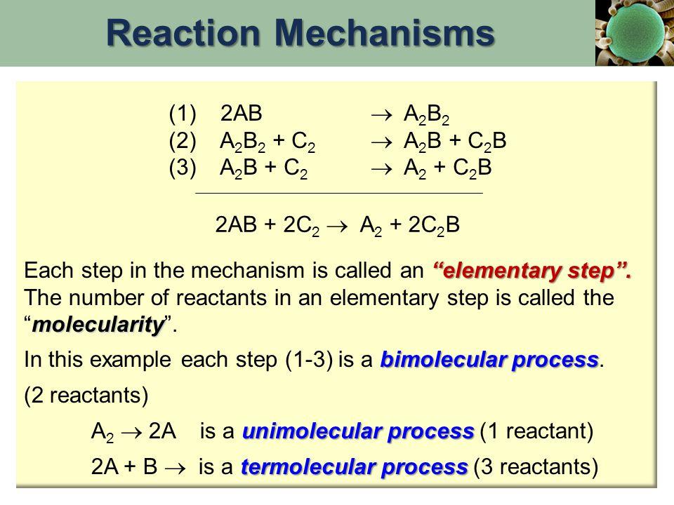 "(1) 2AB  A 2 B 2 (2) A 2 B 2 + C 2  A 2 B + C 2 B (3) A 2 B + C 2  A 2 + C 2 B 2AB + 2C 2  A 2 + 2C 2 B ""elementary step"". Each step in the mechan"