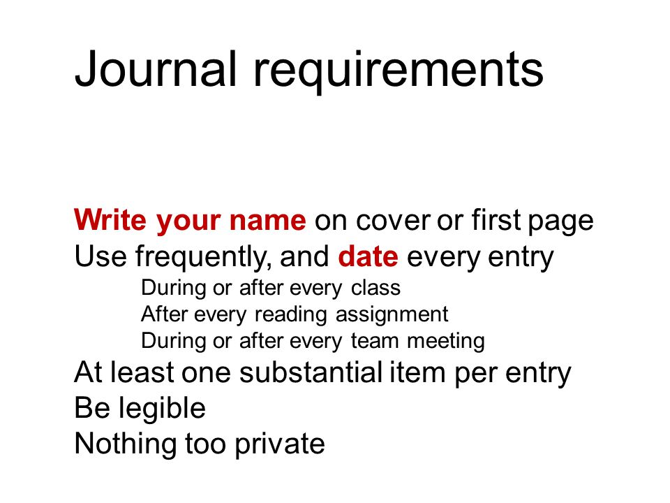 Journal requirements Write your name on cover or first page Use frequently, and date every entry During or after every class After every reading assignment During or after every team meeting At least one substantial item per entry Be legible Nothing too private