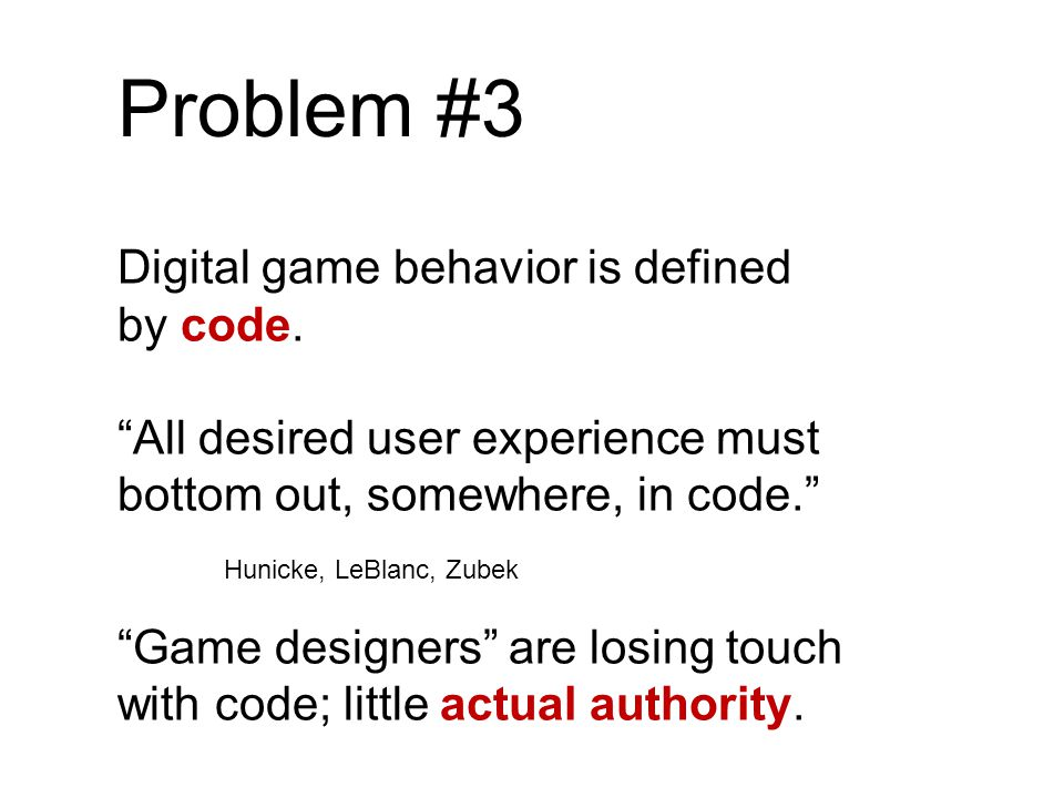Problem #3 Digital game behavior is defined by code.
