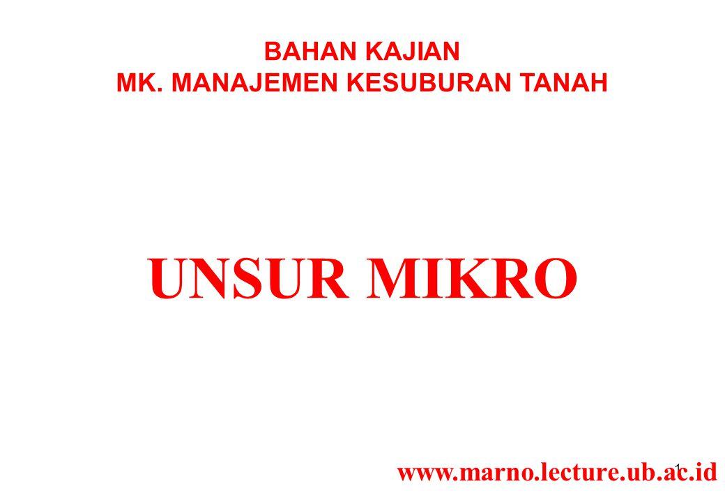 1 BAHAN KAJIAN MK. MANAJEMEN KESUBURAN TANAH UNSUR MIKRO www.marno.lecture.ub.ac.id
