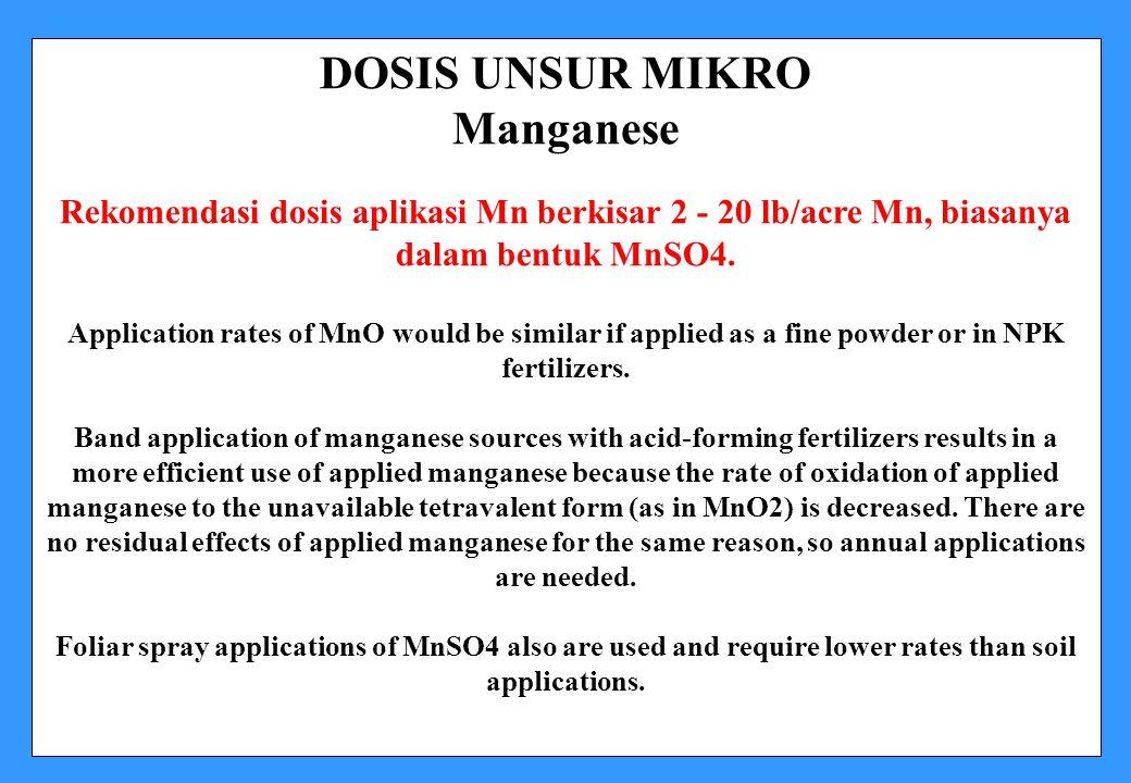 23/9/200834 DOSIS UNSUR MIKRO Manganese Rekomendasi dosis aplikasi Mn berkisar 2 - 20 lb/acre Mn, biasanya dalam bentuk MnSO4. Application rates of Mn