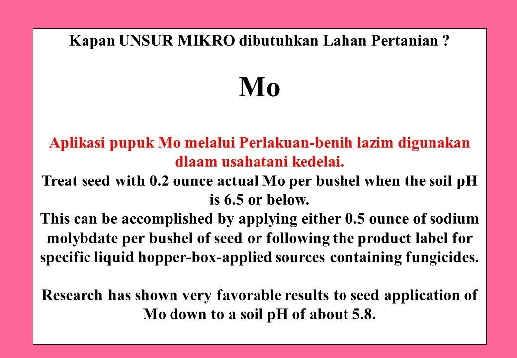 Kapan UNSUR MIKRO dibutuhkan Lahan Pertanian ? Mo Aplikasi pupuk Mo melalui Perlakuan-benih lazim digunakan dlaam usahatani kedelai. Treat seed with 0