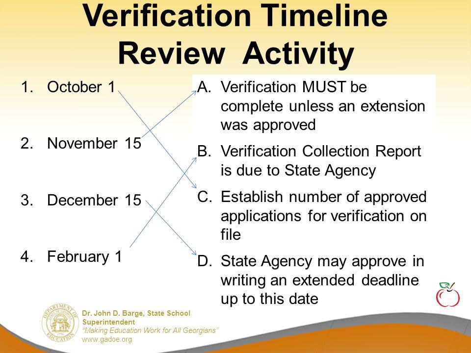 "Dr. John D. Barge, State School Superintendent ""Making Education Work for All Georgians"" www.gadoe.org Verification Timeline Review Activity A. Verifi"