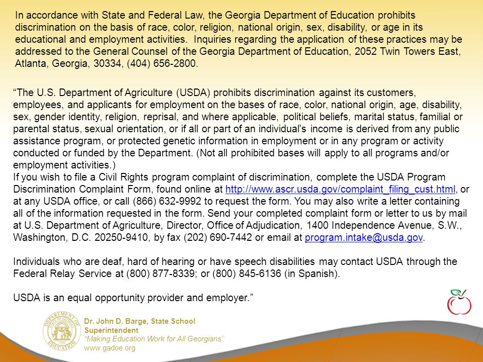 """Dr. John D. Barge, State School Superintendent """"Making Education Work for All Georgians"""" www.gadoe.org QUESTIONS?"""