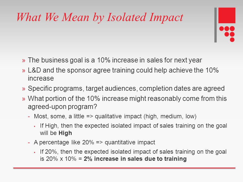 »The business goal is a 10% increase in sales for next year »L&D and the sponsor agree training could help achieve the 10% increase »Specific programs