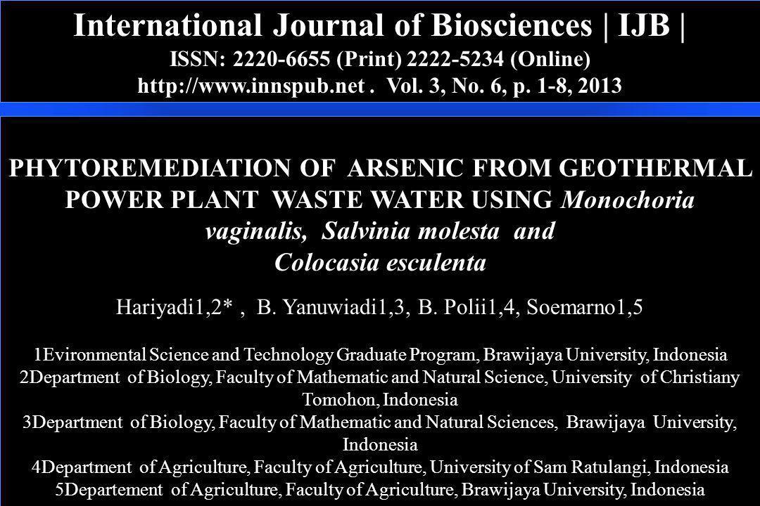International Journal of Biosciences | IJB | ISSN: 2220-6655 (Print) 2222-5234 (Online) http://www.innspub.net. Vol. 3, No. 6, p. 1-8, 2013 PHYTOREMED