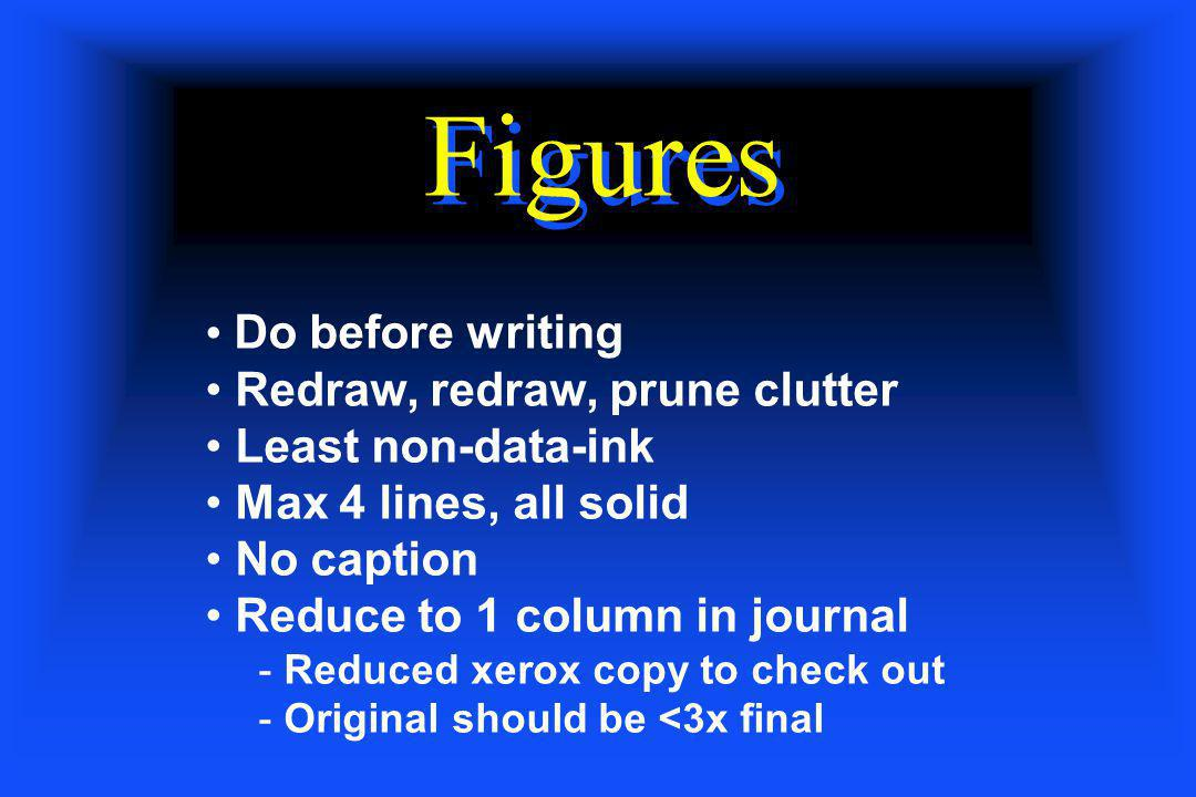 Figures Do before writing Redraw, redraw, prune clutter Least non-data-ink Max 4 lines, all solid No caption Reduce to 1 column in journal - Reduced x