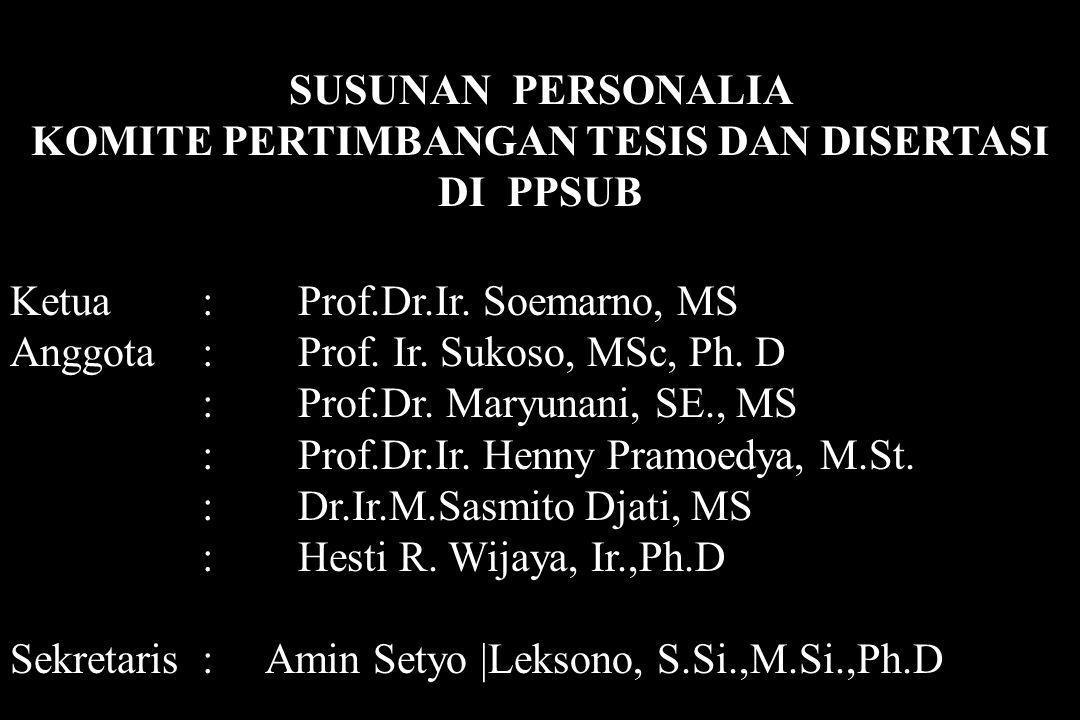 SUSUNAN PERSONALIA KOMITE PERTIMBANGAN TESIS DAN DISERTASI DI PPSUB Ketua: Prof.Dr.Ir. Soemarno, MS Anggota : Prof. Ir. Sukoso, MSc, Ph. D : Prof.Dr.