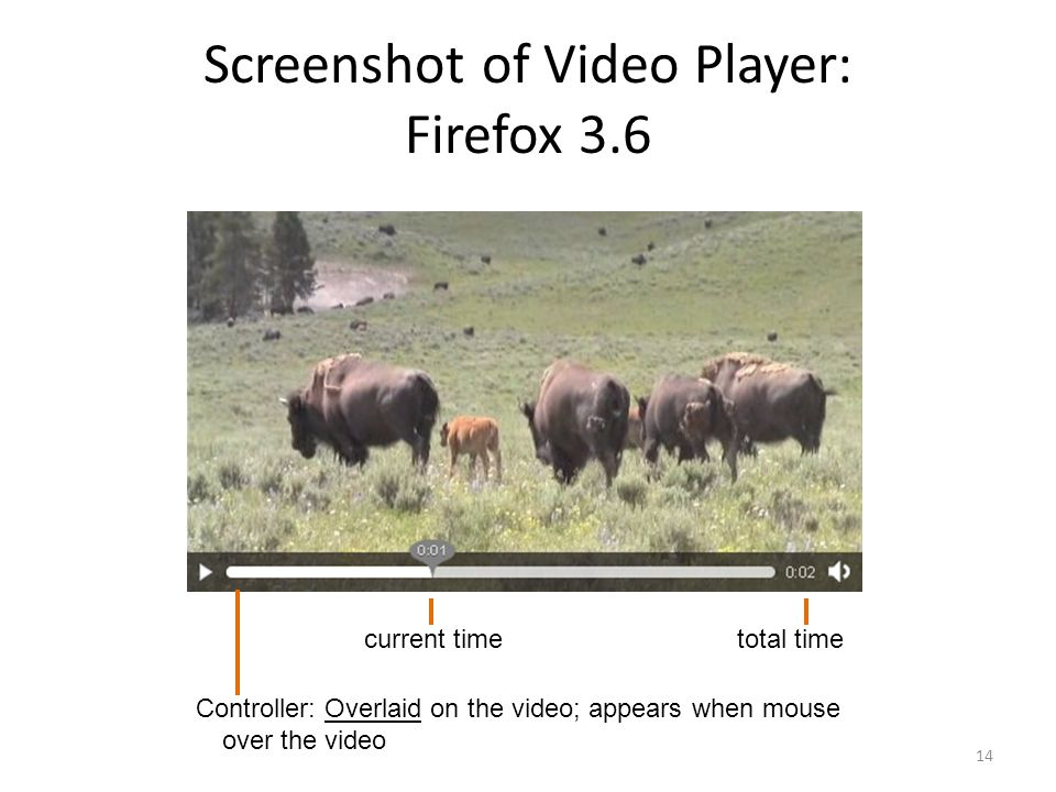 Screenshot of Video Player: Firefox 3.6 14 Controller: Overlaid on the video; appears when mouse over the video current timetotal time