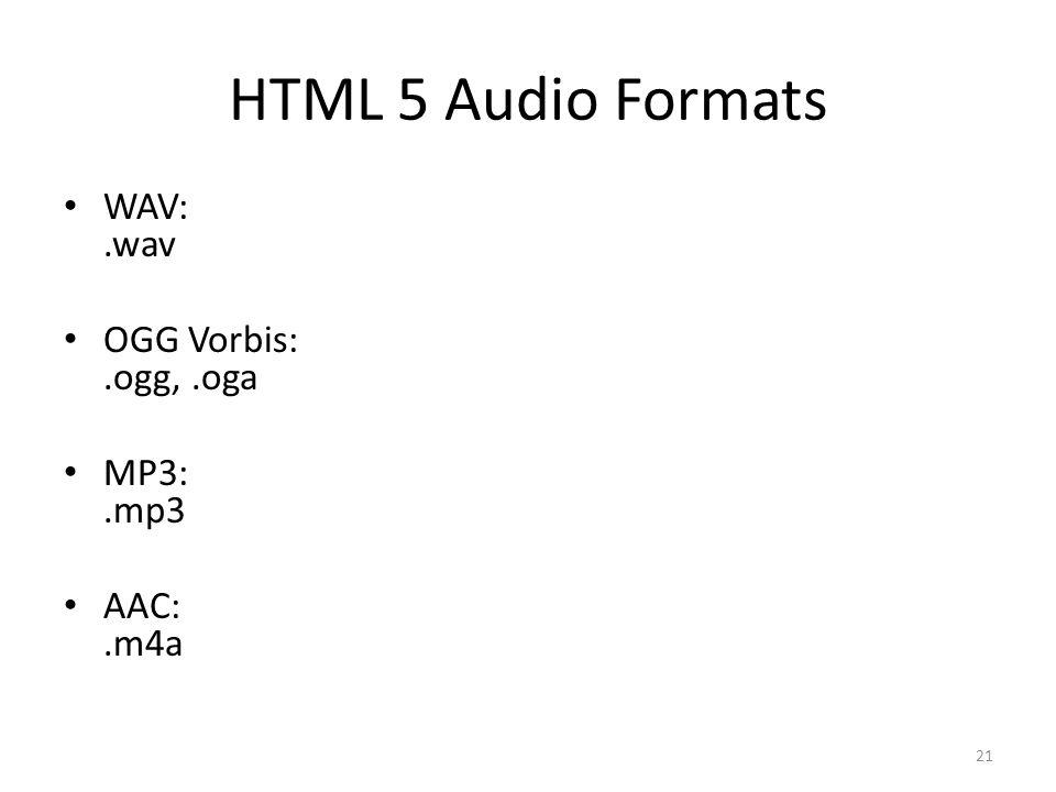 HTML 5 Audio Formats WAV:.wav OGG Vorbis:.ogg,.oga MP3:.mp3 AAC:.m4a 21