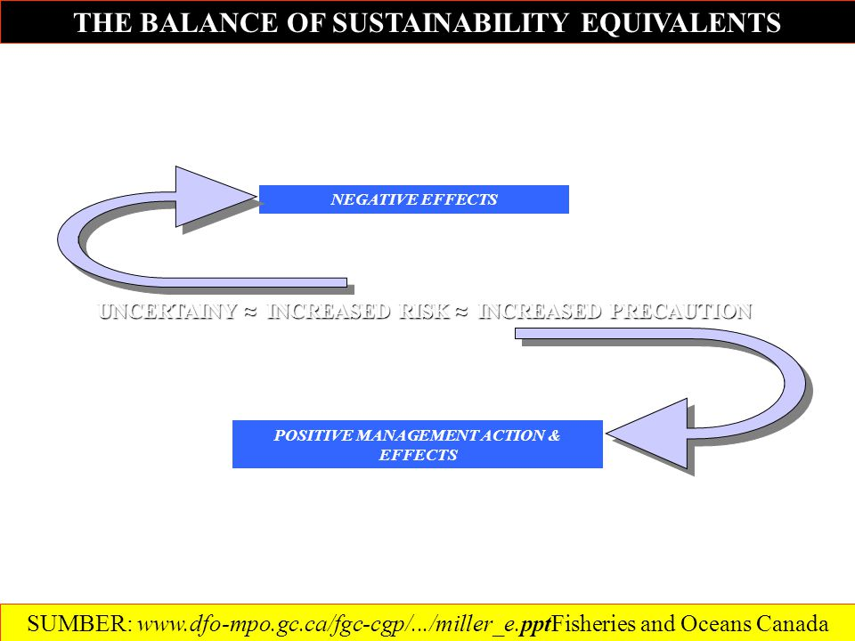 THE BALANCE OF SUSTAINABILITY EQUIVALENTS UNCERTAINY ≈ INCREASED RISK ≈ INCREASED PRECAUTION POSITIVE MANAGEMENT ACTION & EFFECTS NEGATIVE EFFECTS SUMBER: www.dfo-mpo.gc.ca/fgc-cgp/.../miller_e.pptFisheries and Oceans Canada