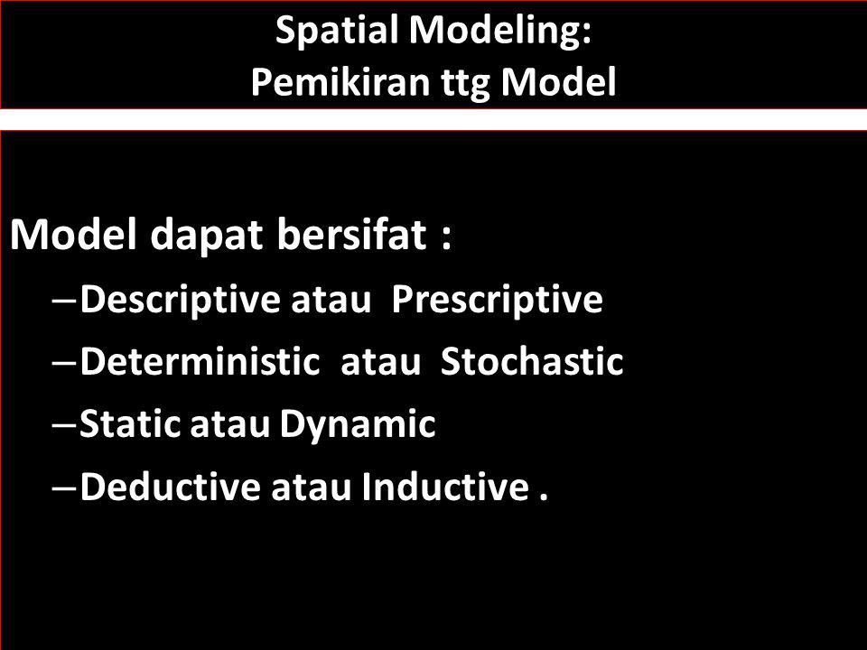 Spatial Modeling Tipe-tipe Model Spatial: 1.Descriptive: characterization of the distribution of spatial phenomena 2.Explanatory: deal with the variables impacting the distribution of a phenomena 3.Predictive: once explanatory variables are identified, predictive models can be constructed 4.Normative: models that provide optimal solutions to problems with quantifiable objective functions and constraints