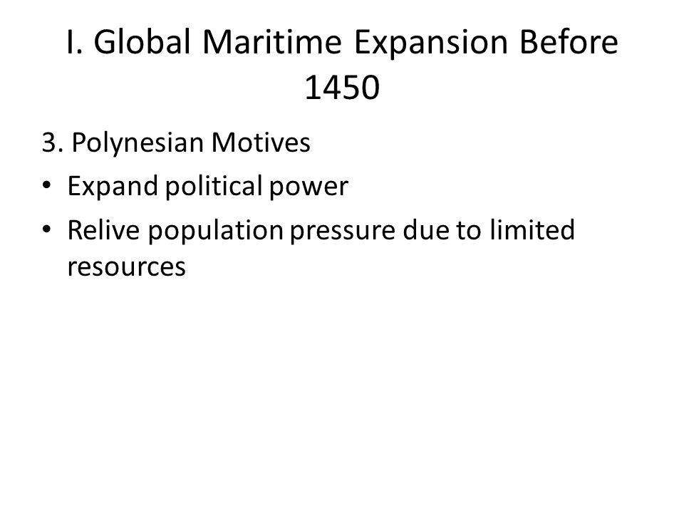 Work with a partner to develop a thesis to answer the prompt: Compare the maritime expansion before 1450 of 2 of the following groups: Polynesians Chinese Vikings Warm Up: Remember: The thesis must directly address the question, a simple restatement will NOT suffice