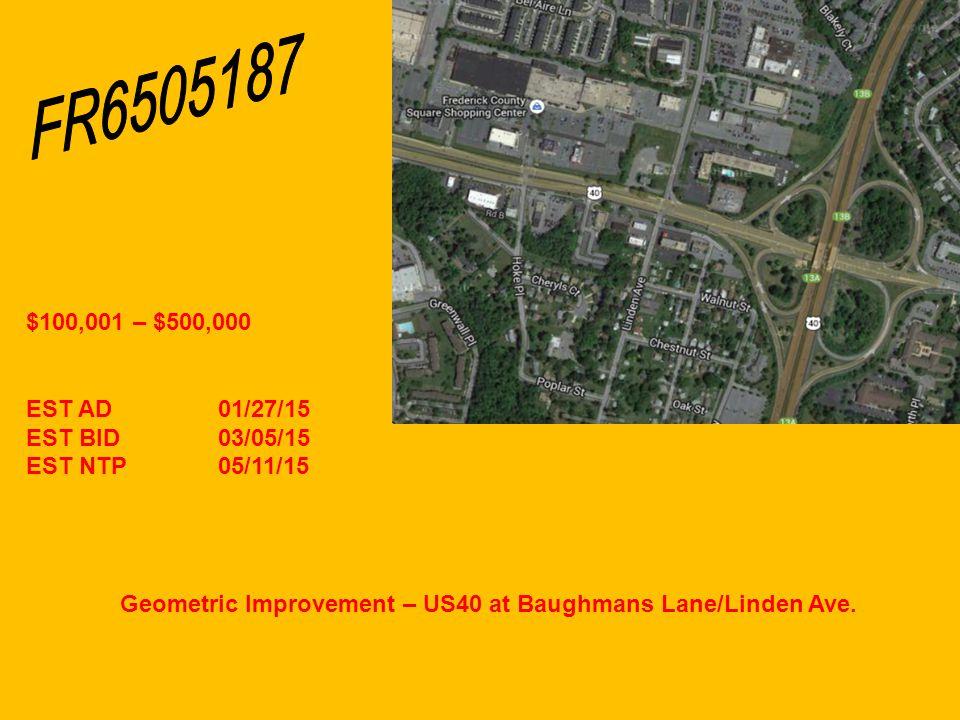 Geometric Improvement – US40 at Baughmans Lane/Linden Ave.