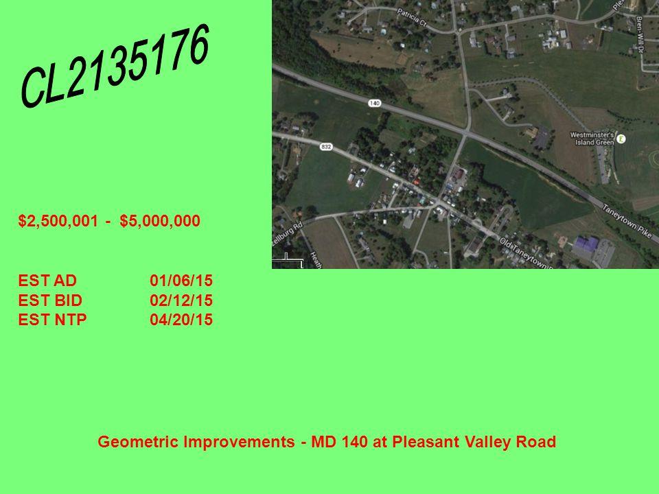 Geometric Improvements - MD 140 at Pleasant Valley Road $2,500,001 - $5,000,000 EST AD01/06/15 EST BID02/12/15 EST NTP04/20/15