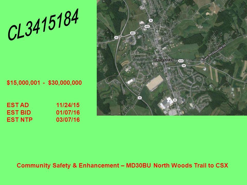 Geometric Improvement – MD 32 at MD 97 $1,000,001 - $2,500,000 EST AD02/10/15 EST BID03/19/15 EST NTP05/25/15