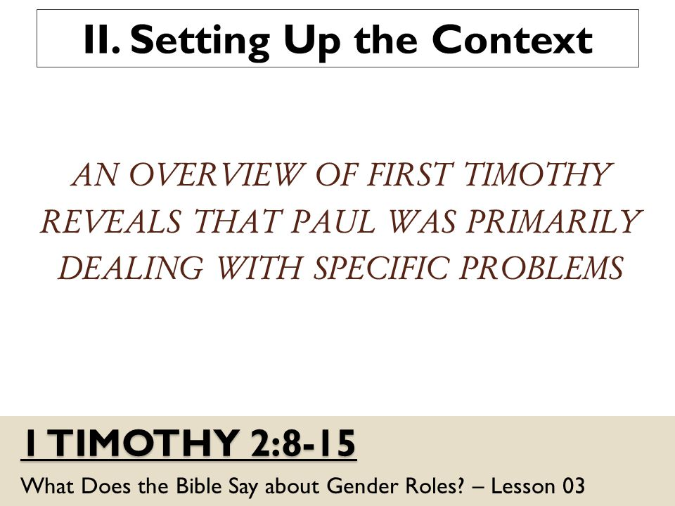1 TIMOTHY 2:8-15 What Does the Bible Say about Gender Roles.