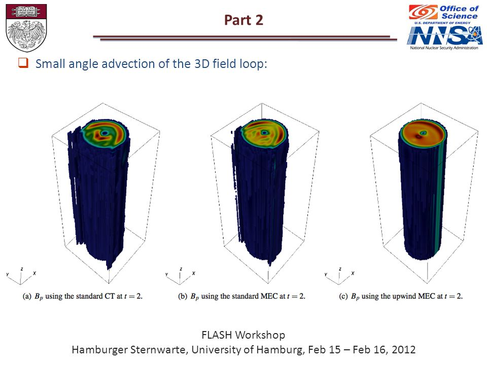 Part 2 FLASH Workshop Hamburger Sternwarte, University of Hamburg, Feb 15 – Feb 16, 2012  Small angle advection of the 3D field loop: