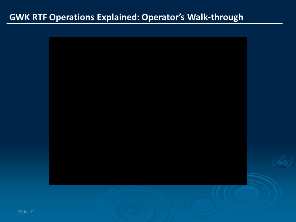 Slide 10 GWK RTF Operations Explained: Operator's Walk-through