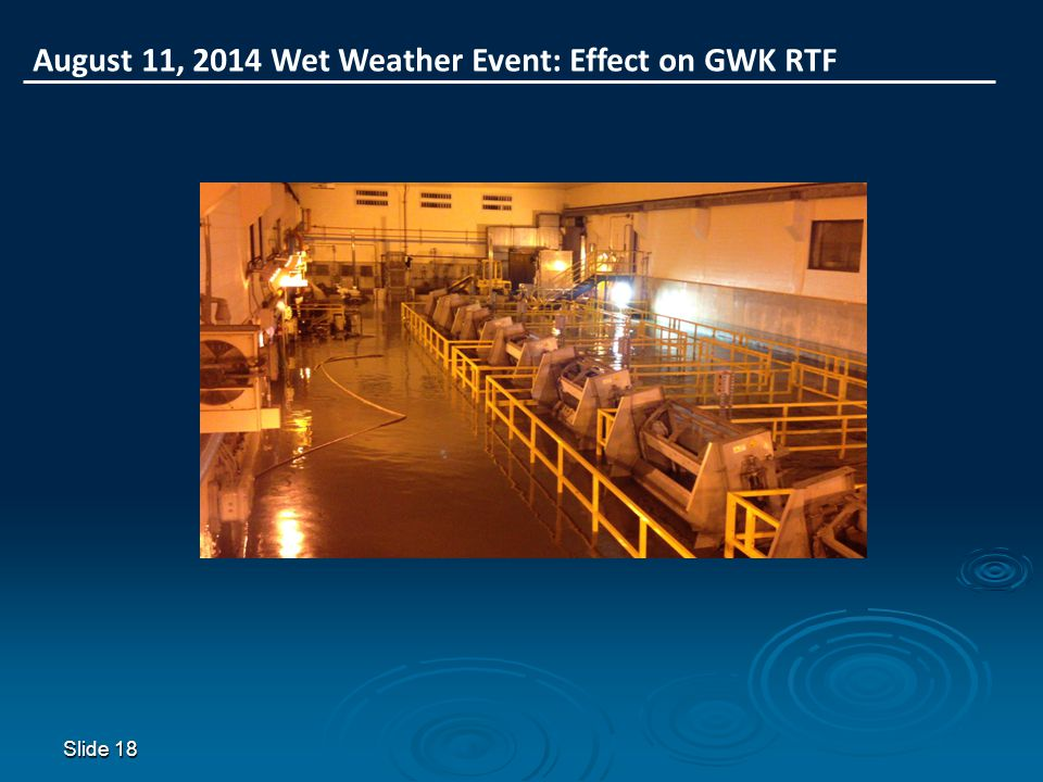 Slide 18 August 11, 2014 Wet Weather Event: Effect on GWK RTF