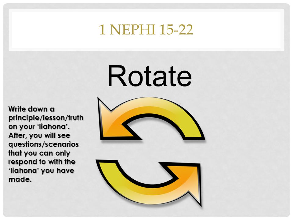 1 NEPHI 15-22 Rotate Write down a principle/lesson/truth on your 'liahona'.